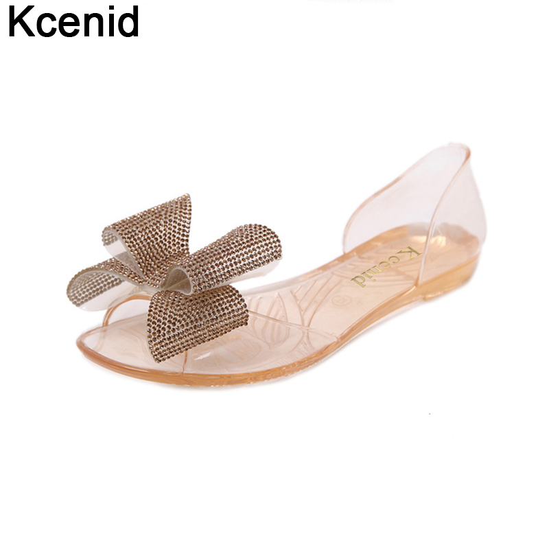 e8cf4b6f7e11 Товар Kcenid Ladies flat beach sandals sweet rhinestone bowtie jelly shoes  woman fashion peep toe transparent crystal shoes size 35-40 -