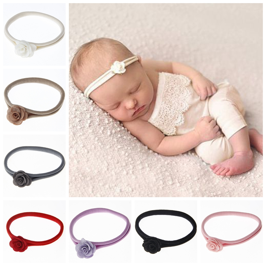 Yundlfy 2pcs Vintage Newborn Chic Flower Hairband Baby Girls Flower Nylon Headband Newborn Chic Flower Hairband