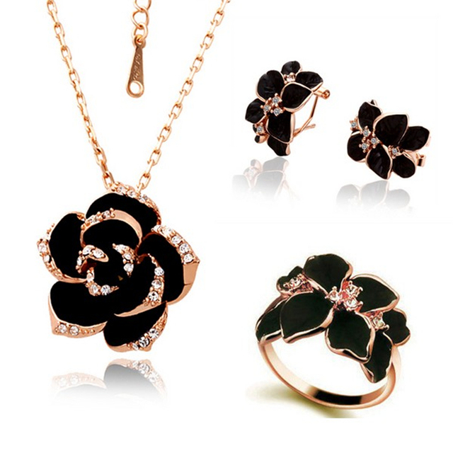 Jewelry Set Rose Gold Color Black Painting 2