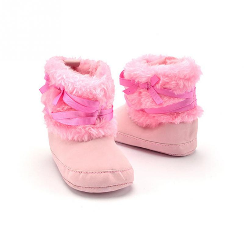 Clearance Soft Winter prewalker shoes Lovely Newborn Bowknot Shoes Toddler Baby Girls Keep warm