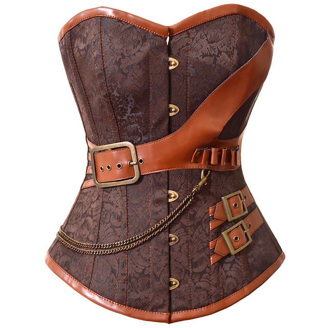 2017 New Fashion Brown Black Brocade   Corset   And   Bustiers   Gothic Steampunk Women's Lingerie Overbust S-6XL Drop Shipping