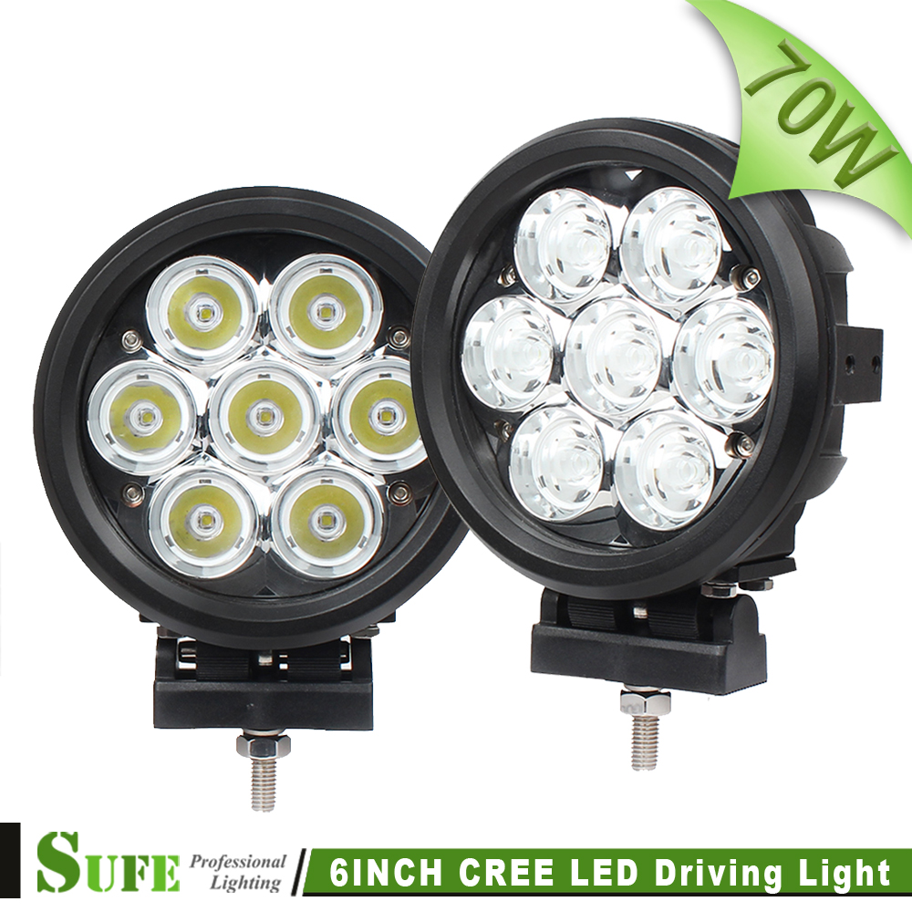 SUFE 7 Inch 70W Round LED Driving Light For Offroad Truck Tractor 4X4 4WD SUV ATV Boat Work Light Spot Flood Combo Beam 12V 24V