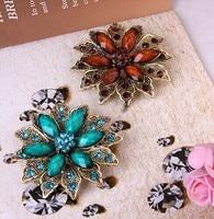 Hot Sale Vintage Rhinestone Flower Big Brooch Korean Luxury Fashion Jewelry Bridal Wedding Accessories Wholesale Broches