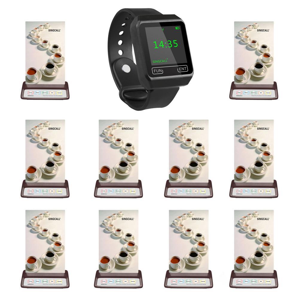 Ristorante sistema di chiamata SINGCALL, 1 ricevitore mobile orologi e 10 pz pulsanti di chiamata per coffee shop