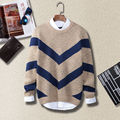 New Fashion long sleeve warm men sweater brand round neck long sleeve striped pullovers male wholesale knitted sweater men brand