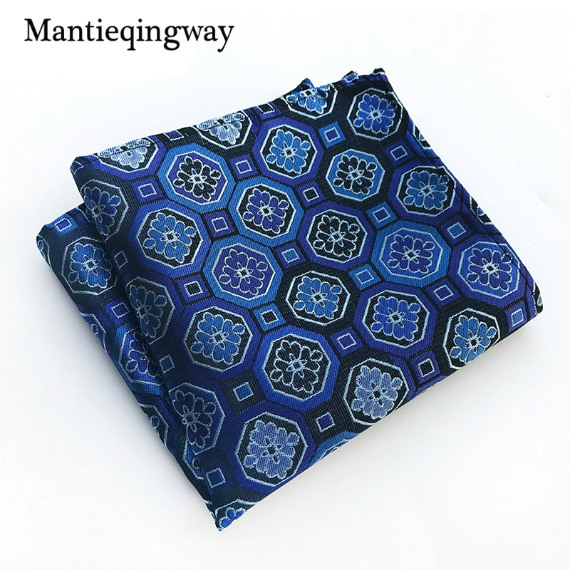 Business Paisley Floral Printed Handkerchiefs For Mens Pocket Square Polyester Plaid Striped Chest Towel Hanky