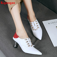 Brand Mixed Color Women Pumps Elastic Band Decor Pointed Toe Strange Heel Women Wedding Party Pumps