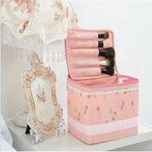 2016 Nueva Rosa Cereza Encaje Mujeres Bolsa de Maquillaje de Gran Capacidad Resistente tela No tejida Bolsa de Cosméticos HBG27