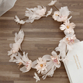 Sweet Women Feather Fancy Wreath Vine Flower Crown for Bridal Headband Korean Flowers Hairband Wedding Hair Headpiece SG468