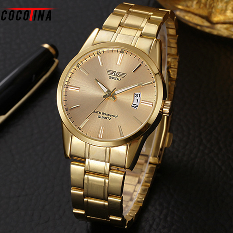 COCOTINA Fashion Luxury Men Wristwatches Gold Stainless Steel Belt Simple Dial Quartz Handsome Watch Hl0348
