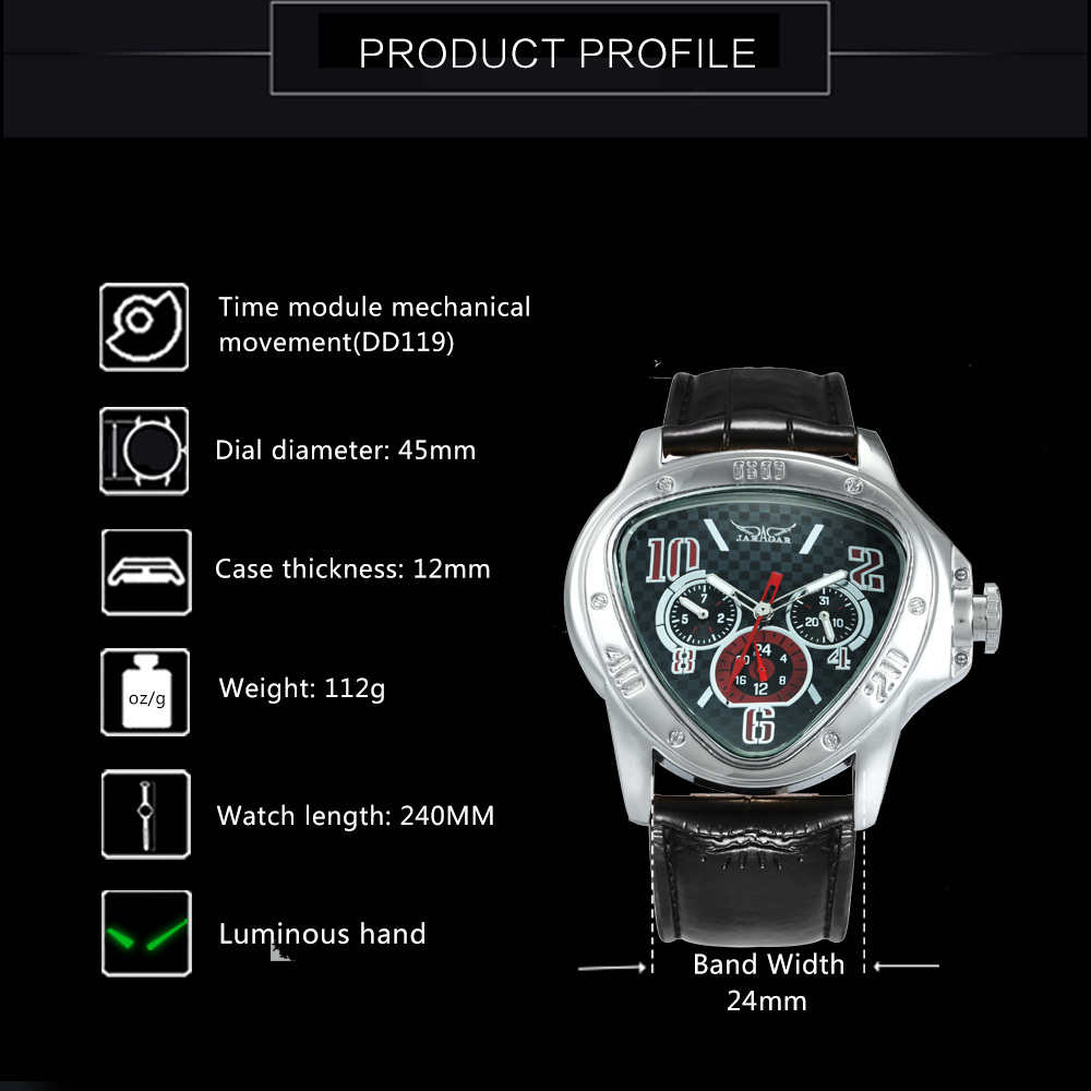 Fashion Luxury Men Automatic Mechanical Wrist Watches Top Brand WINNER Triangle Men's Watches 3 Sub-dials 6 Hands reloj hombre 3