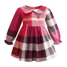 e117bfae43070 Funfeliz 2019 الربيع الفتيات الصغيرات فساتين كم كامل منقوشة القوس خط اللباس  ل فتاة الأميرة زي الاطفال الملابس 2 -8 سنوات