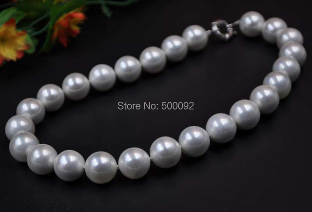 """AAA  17"""" big 16mm round shell pearl necklace free shipping"""