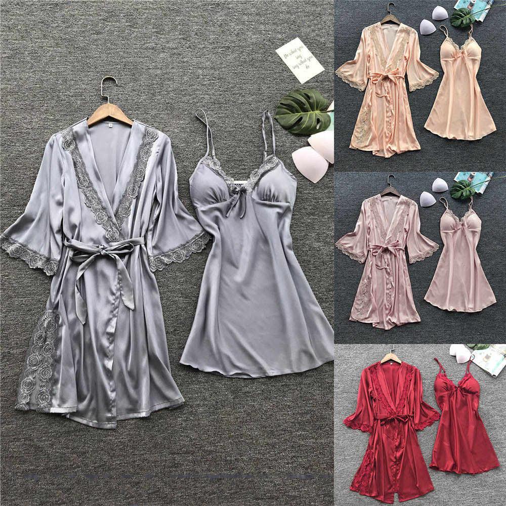 44e4f3347275 ... Women Fashion Sexy Sleepwear Lingerie Lace Temptation Belt Underwear  Nightdress Bride Bridesmaid Robes Dressing Gown For