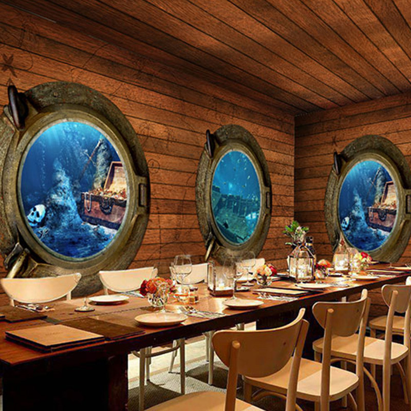 Custom 3D Stereo Pirate Wood Mural Wallpaper Retro Adventure Theme Bar Restaurant Coffee Shop Non-woven Wallpaper Home Decor