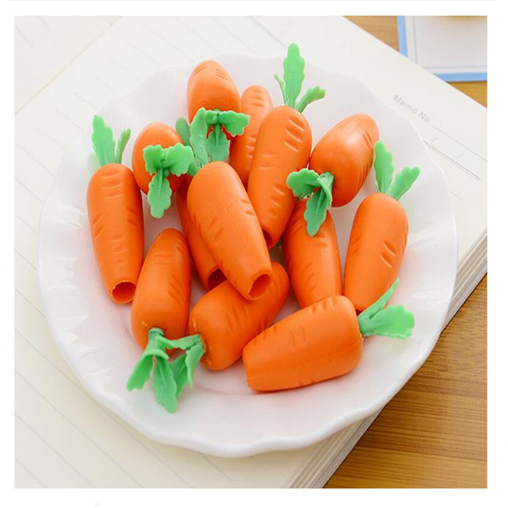 40 Pcs Per Lot Carrot Rubber Eraser Funny Stationery Pencil Eraser The Best Primary School Supplies