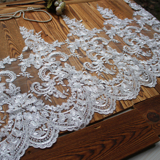 Europe Luxury Lace Applique Flowers Ivory Lace Ribbon