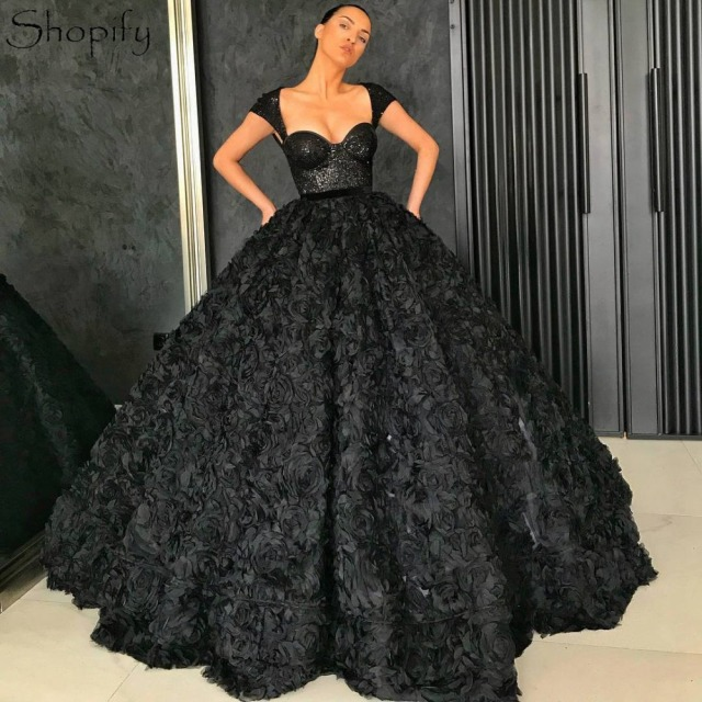 5d1cf491c759b US $215.0 |Elegant Ball Gown Sweetheart Cap Sleeve Long Formal Dresses Lace  Arabic Oman Black Women Evening Dress 2019-in Evening Dresses from ...