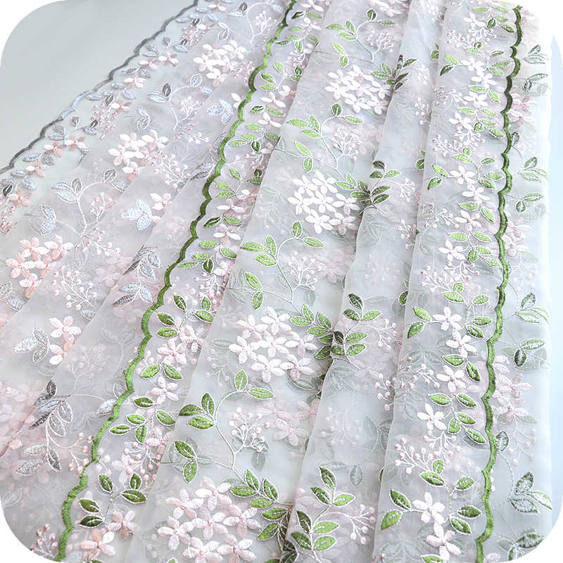 50x126cm Defect Special Pink Floral Green Leaf Pattern Net Embroidery Lace Fabric of DIY Webbing Dress Cloth Materials