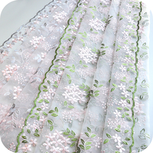 Lace-Fabric Webbing-Dress Defect Floral Cloth-Materials Embroidery Leaf-Pattern Pink