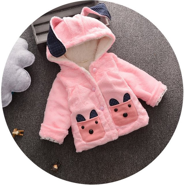 2016 Autumn Winter Baby Coats Baby Girls Rabbit Ears Outerwear Kids Cartoon Patter Wear Children Thicken Clothes Free Shipping