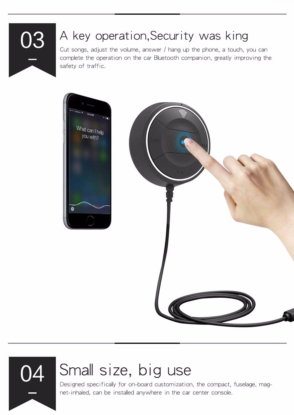 Fio Bluetooth Car Receptor NFC AUX Adaptador