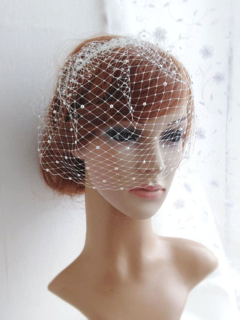 Купить с кэшбэком Bridal Birdcage Veil and Bride Beaded Birdcage Veil, Blusher  Veil,Short Veil