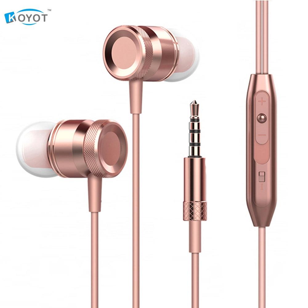 KOYOT Aluminum Metal In Ear Earphone Stereo in-ear With Mic Music Control