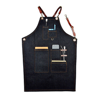 Denim Bib Apron Leather Strap Barista Baker Work Uniform for Bartender BBQ Chef Cook Household Cleaning Tools Supplies