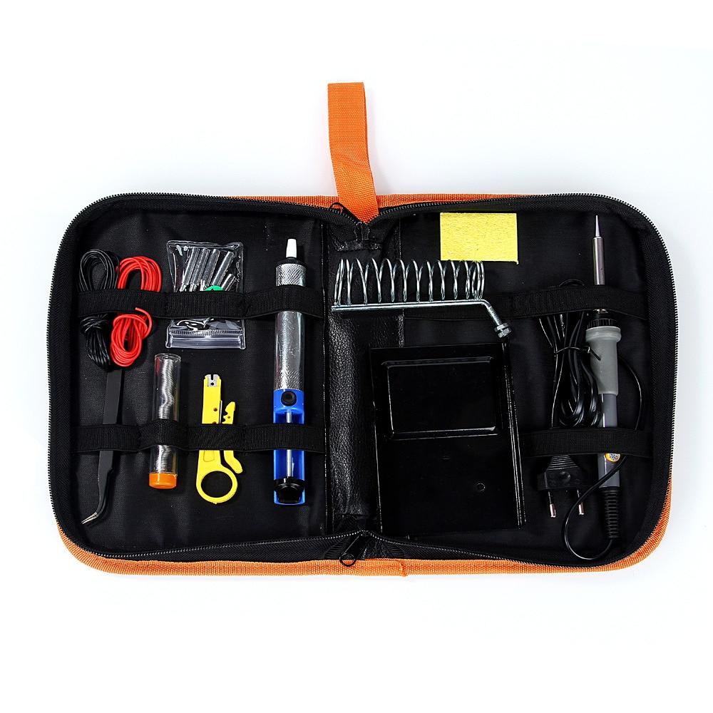 Kit de soldador eléctrico Herramienta de soldadura con puntas de soldadura Soporte de hierro Bomba desoldadora Pinzas de estaño Soldadura Tubo pelacables