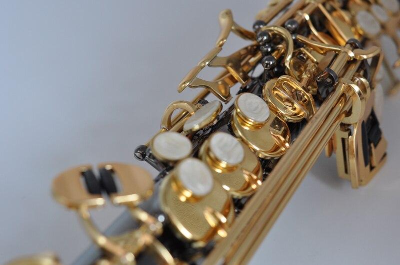 France Soprano Saxophone R54 Straight Sax B Flat Saxofone Professional Musical Brass Instruments Black Nickel Gold Accessories - 3