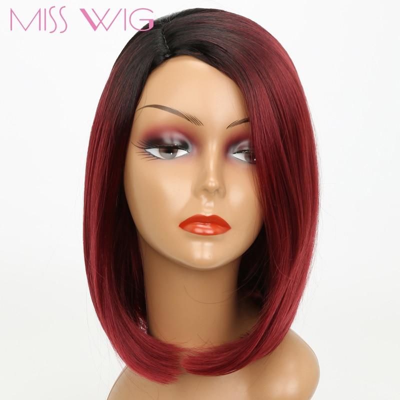 MISS WIG פינק אומבר שחור בלונדינית בלונדינית גריי פאה ארוכה ויפה שיער קצר פאות 230g עבור נשים שחורות סינתטי פאות