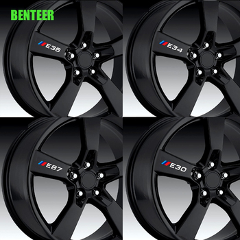 4pcs Power Motorsport Car Rim sticker For BMW E30 E34 E36 E39 E46 E60 E87 E90 image