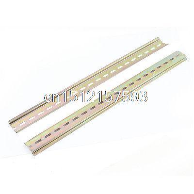 цена на 2pcs Slotted Metal 35mm DIN Mounting Rail 40cm Long for AC Contactor