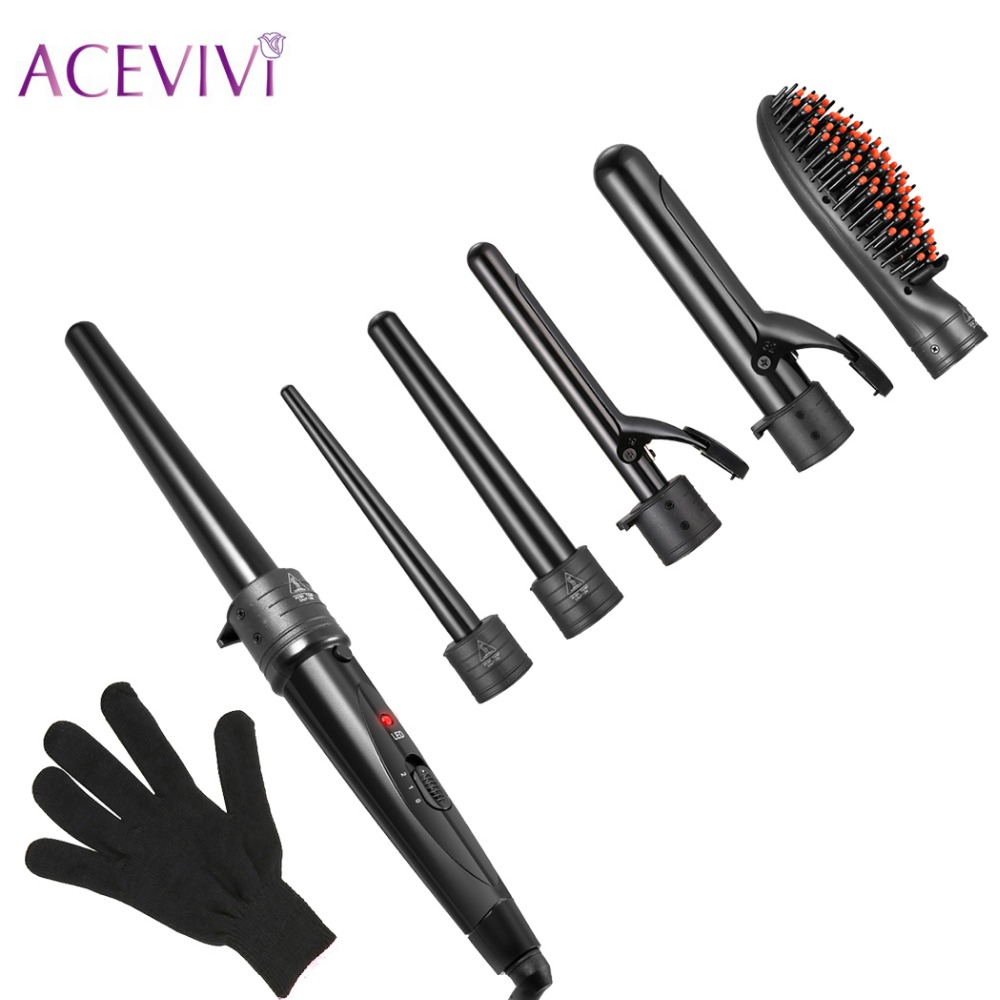 ACEVIVI 5 in 1 Interchangeable Hair Curling Iron Hair Straightener Multifuctional Machine Ceramic Hair Styling Set EU UK US Plug ckeyin 9 31mm ceramic curling iron hair waver wave machine magic spiral hair curler roller curling wand hair styler styling tool
