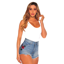 2018New retro rose embroidery denim shorts ladies high waist mini slim jeans ladies nightclubs jeans sportswear shorts