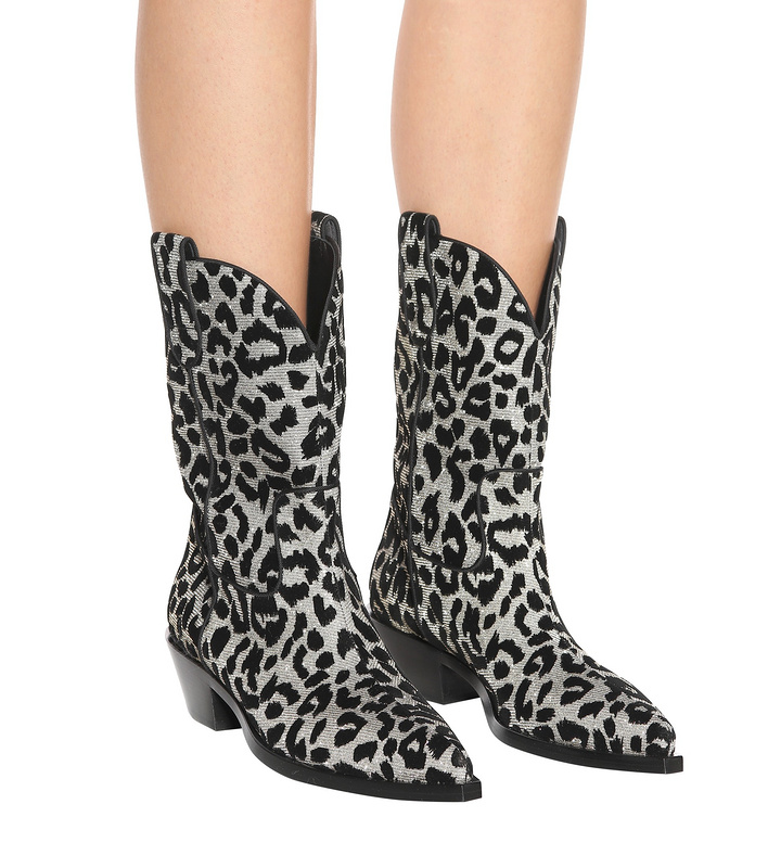 New Style Women Sexy Leopard Pointed Toe Winter Booties Flock Leather Slip On Mid-Calf Boots Rome Style Middle Square Heel Shoes 2018 new women mid calf boots thin heel booties black leather women half boots ladies patent leather boots slip on