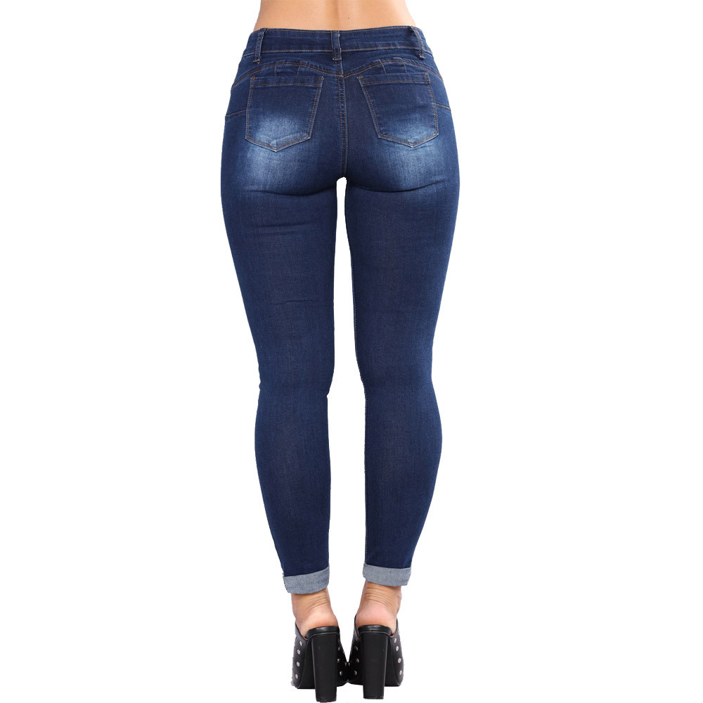 Casual Women Slim Fit Hips Small Feet Women 39 s Jeans Dark Light Blue Denim Pants Large Size in Jeans from Women 39 s Clothing