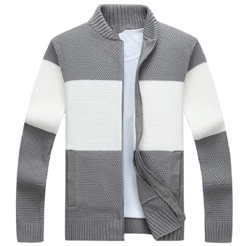 Men Zipper Sweaters 2018 Fashion Male Stand Collar Cardigan Plus Velvet Thickening Winter Mens Turtleneck Sweater