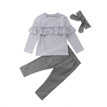 Toddler Kids Baby Girl Outfits 3PCS Ruffle Long Sleeve Tops+Plaid Pants Leggings+Headband Fashion Clothes 1-6T(China)