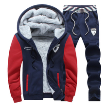 2016 winter mens Set Velvet Thick Soft Sweatshirt keep Warm Casual Hoodies Tracksuit Suits M-3XL