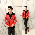 2017 new men warm fur collar red leather coat Korean Men's Slim plus cotton casual short jacket