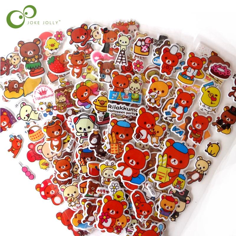 5 blätter/lot Mixed Nette Cartoon Braun Bears Aufkleber Spielzeug für Kinder Tier PVC Puffy Baby Schule Lehrer Belohnung geschenk YYY GYH