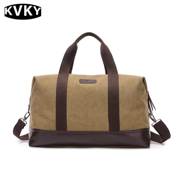 KVKY Classic Business Men Travel Bags Simple Fashion Large Capacity Canvas  Leather Weekend Bag Overnight Carry on Luggage bag cbed3e4505b72