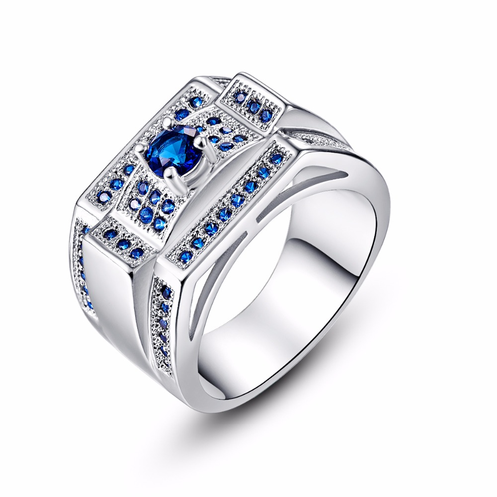 Top Quality Silver Nobleness Deep Blue Crystal Ring Austrian Crystals Women Vintage Jewelry Rings Sizes 6 7 8 9 10 Wholesale