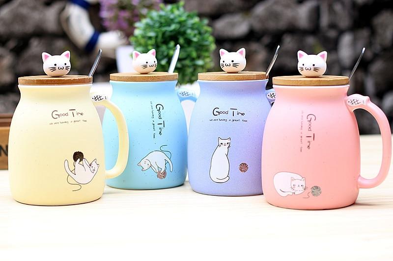 HTB1KtFryMKTBuNkSne1q6yJoXXam 450ml Cartoon Ceramics Cat Mug With Lid and Spoon Coffee Milk Tea Mugs Breakfast Cup Drinkware Novelty Gifts