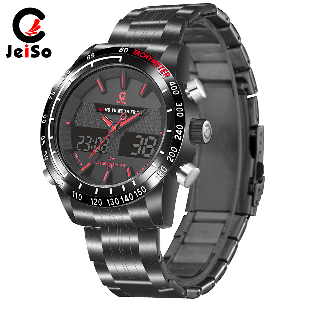 Watch Man Chronograph-Design Masculino Digital Stainless-Steel Relogio Band Black Solid