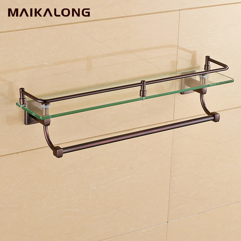 Bathroom Glass Shelf Wall Mount with Towel Bar and Rail, ORB oil ...