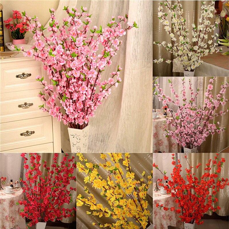 Künstliche Kirsche Frühling Plum Pfirsich Blossom Zweig Silk Blume Hause Hochzeit Dekorative Blumen Kunststoff Pfirsich Bouquet 65 Cm P0.21 Festliche & Party Supplies