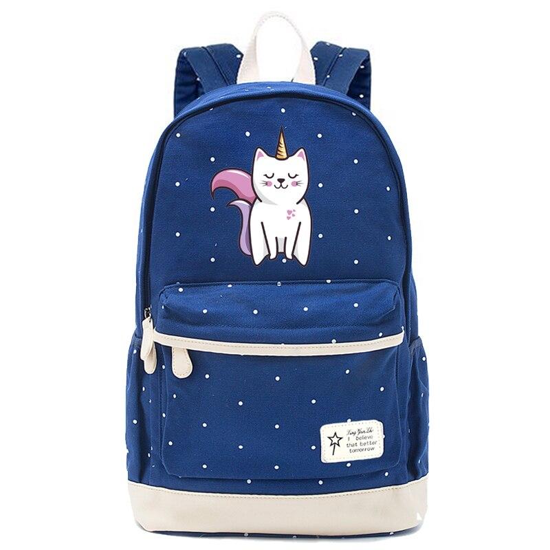 700e1ee14b60 Unicorn Bag School Backpack for Teenager Girls Kawaii Cartoon Children Book  Bag Kids Gift Cat pig